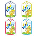 Cute Birthday Gift Tags Vector Cartoon With Cute Cat Brings Balloons Suitable For Birthday Tags Design Stock Photography - 97061072