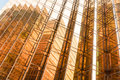 Gold Colour Office Building Tower Facade  In Business Center Stock Photo - 97063080