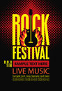 Poster For A Rock Festival With Guitar On Fire Royalty Free Stock Image - 97088796
