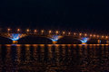 Road Bridge Across The Volga River Between The Cities Of Saratov And Engels, Russia. Night Or Evening Landscape Stock Photos - 97094993