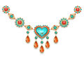 Necklace With Turquoise Heart Royalty Free Stock Photography - 97105017