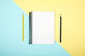Top View Of Open Spiral Blank Notebook On Colorful Desk Royalty Free Stock Photos - 97107628