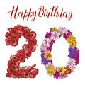 Twenty Digit Made Of Different Flowers  On White Background. Happy Birthday Inscription. Vector Illustration Royalty Free Stock Images - 97116419