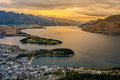 Cityscape Of Queenstown And Lake Wakaitipu With The Remarkables In The Background, New Zealan Royalty Free Stock Image - 97119106