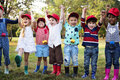 Group Of Kids School Field Trips Learning Outdoors Botanic Park Royalty Free Stock Photography - 97130797