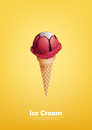 Red Ice Cream In The Cone, Strawberry, Raspberry, Pour Chocolate Syrup, Vector Royalty Free Stock Photography - 97136537
