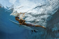 Picture Of Surfing A Wave.Under Water Picture. Stock Photos - 97141533