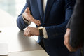 Businessman Pointing On Wristwatch, Punctuality, Time Management Stock Photography - 97152282
