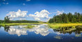 Blue Mirror Lake Reflections Of Clouds And Landscape. Ontario, Canada. Royalty Free Stock Photography - 97158367