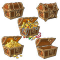Set Of Hand Drawn Pirate Treasure Chests Royalty Free Stock Image - 97168066