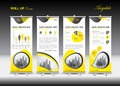 Yellow Roll Up Banner Template And Infographics, Stand Design Stock Image - 97173901