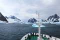 Cruise Ship Crusing Around Ice Floes In Antarctic Waters Royalty Free Stock Images - 97173919