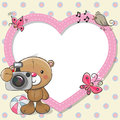 Teddy Bear With A Camera And A Heart Frame Stock Image - 97177031