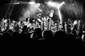 Silhouettes Of People At A Concert In Front Of The Scene In Bright Light. Black And White Royalty Free Stock Image - 97178766
