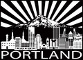 Portland City Skyline And Mount Hood Black White Vector Illustration Stock Photography - 97197612