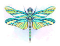 Patterned Dragonfly On The Grunge Background Stock Images - 97201034