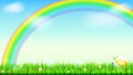 Summer Background. Big Bright Rainbow Above Green Field. Juicy Grass, Daisy Flowers, Ladybugs In Grass On Backdrop From Royalty Free Stock Image - 97203306