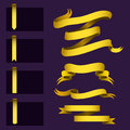 Realistic Gold Ribbons Tape Flag Banner Elegance Graphic Stitch Band Banner Flag Bow Vector Illustration. Stock Image - 97203781