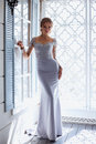 Young Blonde Bride Woman In A Light Blue Wedding Dress Stock Photo - 97215150