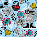 Blue Seamless Pattern With Owl In Eyeglasses. Hipster Image In Vector. Stock Image - 97217501