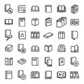 Set Of 36 Book Thin Line Icons. Stock Image - 97221461