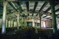 Big Abandoned Industrial Warehouse Interior Inside, Perspective Stock Photography - 97221702