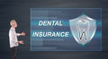 Businessman Presenting A Dental Insurance Concept On A Wall Screen Stock Image - 97227741