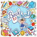 Bunner Cell Sheet In Cage With Set Of Different School Things Vector Bag Apple Stock Photography - 97231672