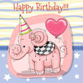 Cute Cartoon Elephant With Balloon Stock Images - 97246174