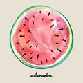 Hand Drawn Sweet Tasty Red Watermelon. Vector Illustration Created With Custom Brushes, Not Auto-tracing. Royalty Free Stock Image - 97248766