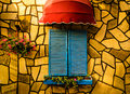 Vintage Restaurant Window With Colorful Shutters And Umbrella Stock Photo - 97253220