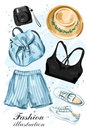 Stylish Summer Clothing Set With Hat, Shorts, Crop Top, Shoes, Backpack And Photo Camera. Fashion Clothes. Sketch. Royalty Free Stock Images - 97255399