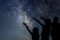 Father And His Daughter Are Watching Meteor Shower. Night Sky. Stock Images - 97258194
