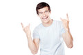 Guy Showing Sign Of Horns Stock Images - 97274574