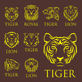 Tiger Head Royal Badge With Beautiful Animal Vector Hand Drawn Lion Face Illustration. Stock Photo - 97276000