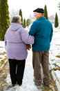 Walking Elderly Couple Royalty Free Stock Photography - 97285317