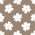 Simple Floral Seamless Pattern. Repeated White Flowers On A Brown Background. Stock Image - 97291561