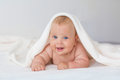 Caucasian Baby Boy Covered With Towel Royalty Free Stock Photos - 97313108