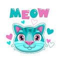 Cute Childish Print With Cat Face And Hearts. Royalty Free Stock Images - 97351429