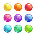 Cartoon Glossy Colorful Round Buttons. Stock Photo - 97351710