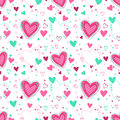 Cute Seamless Pattern With Hearts Stock Photo - 97352270