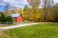 Red Building In A Rural Landscape In Autumn Stock Photography - 97352282