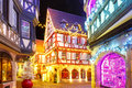 Christmas Street At Night In Colmar, Alsace, France Royalty Free Stock Image - 97361586