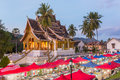 Famous Night Market And The Haw Pha Bang Temple In Luang Prabang Stock Photography - 97365712
