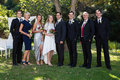 Bride And Groom Standing With Guests Stock Photo - 97378620