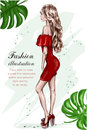Beautiful Young Woman In Red Dress. Hand Drawn Fashion Woman. Stylish Girl. Fashion Look. Sketch. Stock Photography - 97379122