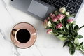 Flat Lay, Top View Office Table Feminine Desk. Workspace With Laptop, Cup Of Cofee And Bouquet Pink Roses.Mother`s Day, Birthday Stock Images - 97389454