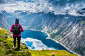 Amazing Nature View On The Way To Trolltunga. Location: Scandina Royalty Free Stock Photography - 97399977