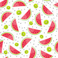 Seamless Background With Watermelon And Kiwi Slices. Vector Illustration. Stock Image - 97401321