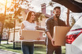 Couple Moving Stock Image - 97405141